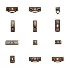 Antik Möbel Beschlag Schlüsselschild Griff Jugendstil Patina Ring Möbelgriff