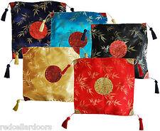 "New Stunning Cushion Covers Asian Inspired Satin Bamboo Red Blue Yellow 16""  U1"