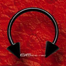 »»» HUFEISEN PIERCING RING SPITZE TITAN schwarz 5 Größen SEPTUM AUGE usw. 4667