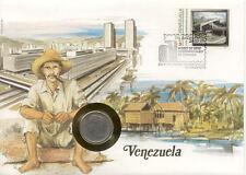superbe enveloppe VENEZUELA pièce monnaie timbre