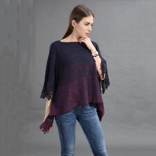 Women Poncho Stole Cape Shrug Wrap Shawl Jumper Sweater Cloak Gradient Plus Size
