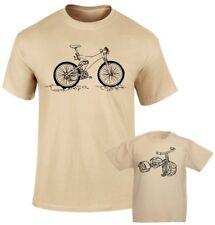Gran bicicleta y poco Bicicleta Padre Papá Hijo papá hija familia que empareja T S