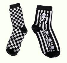 Socken Karo schwarz weiß Schachbrett kariert Ska Oi Punk Checker Totenkopf Skull