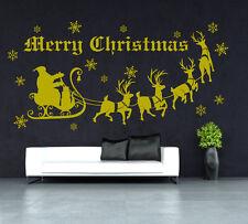 Xmas Special 'Santa on Sleigh' Art Vinyl Wall Sticker UK 224