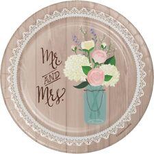 Rustic Wedding | Mr & Mrs 18cm | Cake | Dessert Paper Party Plates 1-48pk
