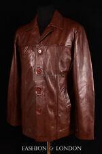 Men's STALLION Brown Washed Mid-Length Lambskin Leather Jacket Coat Reefer