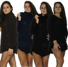 Maglione donna Maxipull lana tricot miniabito pullover girocollo + scaldacollo