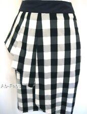 Karen Millen Vichy Carreaux Coton Jupe Crayon Tailles 6 8 Noir Gris Blanc Imprimé