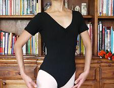 Clásico Dama Niña Mujeres Ballet Danza de manga corta de algodón/Lycra Leotardo Espalda Baja