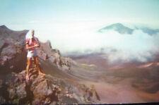 Halekala Woman in Tight Shorts-Sandals on Precipice 50s
