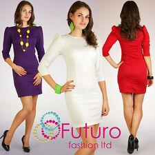 Women's Classic & Elegance Puffy Dress Tunic Style 3/4 Sleeve Size 8-16 PA05