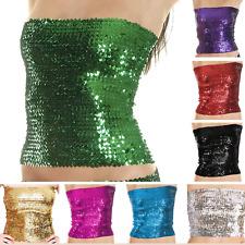 Sequin Stretch Hat Tube Top Glitter Disco Retro Sparkly Boob Bandeau Clubwear