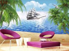 3D spiaggia nave Parete Murale Foto Carta da parati immagine sfondo muro stampa