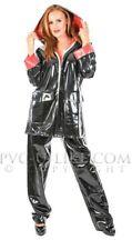 Rain Jacket Coat Suit Raincoat Trousers Impermeable 100% PVC S-3XL Black Red