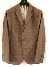 Gabicci Vintage Mens Jacket Blazer Beige Brown Checked Tailored Button V36GJ13