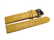 Uhrenarmband mit Butterfly - Leder - Kroko - gelb - 18,20,22,24 mm
