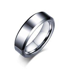 Sz 7-12 Tungsten Carbide Steel Band Men/Women's 6MM Silver/Black Engagement Ring