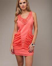 Women Dress Mini Coral V neck clubwear casual party dresses