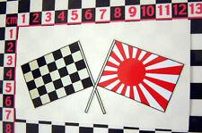 Vintage Style Japanese Crossed Flags Sticker - Yamaha Suzuki Honda Cafe Racer