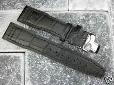 21mm IWC Black Leather Strap Deployment Buckle Watch Band SET PILOT TOP GUN