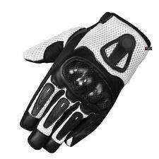 New Men Short Motorcycle Leather Mesh Gloves White Carbon Fiber