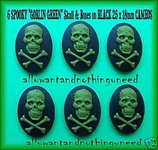 6 GOTH PUNK HALLOWEEN GREEN SKULL on BLACK 25mm x 18mm Costume Jewelry CAMEOS