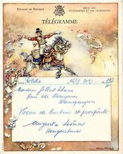 BELGIQUE-TELEGRAMME ILLUSTREE D'UN CHEVAL-POUR THEMATIQ