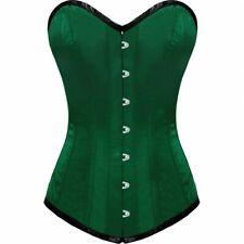 Green Satin Gothic Burlesque Bustier Waist Training LONG Overbust Corset Costume
