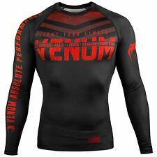 Venum Signature MMA Rash Guard BJJ Long Sleeve Mens Compression Top Black Red