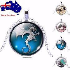 Fashion Dragon Art Picture Glass Cabochon Pendant Necklace Women's Jewelry Gift