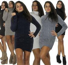 Miniabito Maxipull donna tricot pullover vestito maxi maglione collo alto nuovo