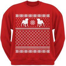 Pug Ugly Christmas Sweater Red Crew Neck Sweatshirt
