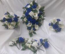 Wedding Bouquet Royal Blue pearl Bride Bridesmaid Flowergirl Buttonholes