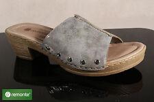 Remonte Sandali Pantofole PANTOFOLE CIABATTE D6957 GRIGIO SUOLA IN PELLE NUOVO