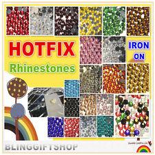 1000  HOTFIX DIAMANTES GLASS RHINESTONES DIAMOND GEMS CRAFT FLAT BACK IRON ON