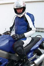 NUOVO Tuta in pelle completo da Moto 1 pezzo bianco blu S M L XL 48 50 52 54