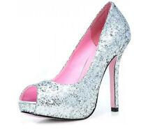 Deluxe Bling UK 6.5 Silver Glitter Peep Toe Stiletto Shoes Pumps Platform Marbs
