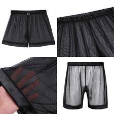 Men's Sheer See Through Boxer Briefs Mesh Underwear Shorts Trunks Underpants