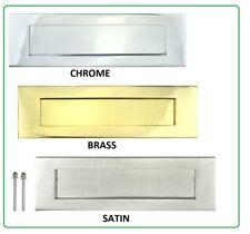 Victorian LETTER PLATE BOX Door Letterbox Sprung Brass Finish Chrome Satin