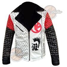 1056 Biker Style White Black Leather Jacket, Brando Genuine Cow Leather Coat