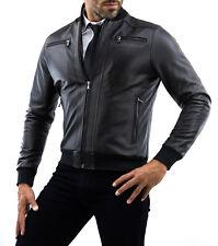 DE Herren Lederjacke Biker Men's Leather Jacket Coat Homme Veste En cuir k11a2