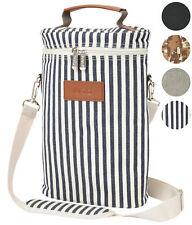 Kato 2 Bottle Travel Insulated Wine Tote Bag Carrier with Shoulder Strap HV