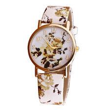 Fashion Flower Patterns Girls Womens Leather Band Analog Quartz Wrist Watch Gift