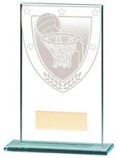 Netball Trophies Millennium Netball Glass Trophy Award 5 sizes FREE Engraving
