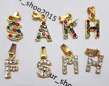 Initial Letter Rhinestone Czech Bead Chain Alphabet Charm Pendant Necklace