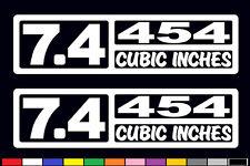 2 V8 7.4 LITER / 454 CUBIC INCHES DECAL SET EMBLEM WINDOW STICKERS FENDER BADGES