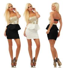 4870 Damen Bandeau Minikleid Kleid Party Pailletten Schößchen Schulterfrei Dress