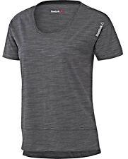 New Reebok T-Shirt Top - Grey - Ladies Women's Gym Training Fitness Running Yoga