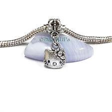 Cute Silver Tone 'hello kitty' Face Slide Clip Dangle Charm fits Euro Bracelets