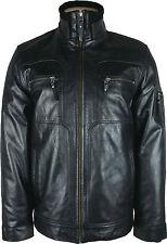 UNICORN LONDON Mens Glazed Black Real Leather Jacket #G2